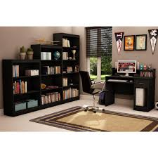 south shore axess solid black desk with hutch 7270076 the home depot