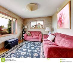Red Blue Rug House Interior Red Sofas With Blue Rug Stock Photo Image 41340827