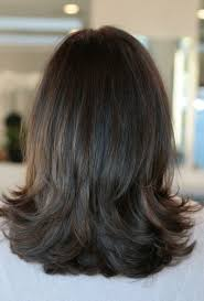 thick straight mid length hair with chunky layers medium length