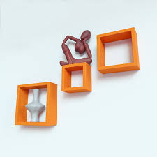 set of 3 nesting square wall shelves by decornation orange