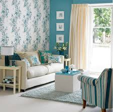 Teal Livingroom Retro Floral Wallpaper Design Ideas For Small Living Room With