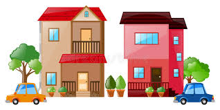 two houses two houses and cars to each other stock vector illustration
