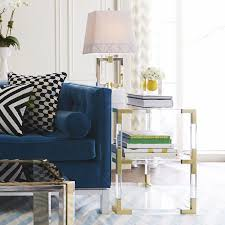 Accent Side Table Jacques Two Tier Acrylic And Brass Side Table Modern Furniture