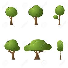 vecor set of 2d trees for design isolated on white background