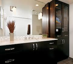 bathroom cabinets dark wood with contemporary door handles