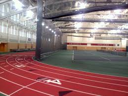 Bleachers Delivered For Indoor Track Meet At Grinnell College