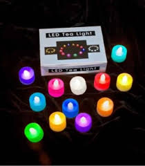 of 12 color changing led tealights