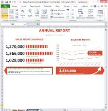 free sales annual report template for excel 2013