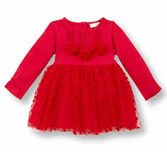 top infant girls red dot tulle christmas dress