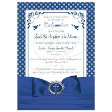 confirmation invitation blue white silver polka dots confirmation invitation printed