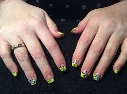 yellow tip with flower nail design youtube