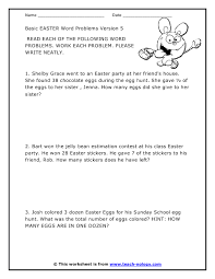 grade 1 math word problems worksheets easter related math word problems version
