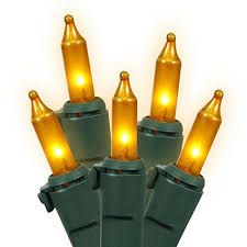 set of 100 opaque gold mini lights green wire string