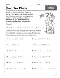 iced tea please order of operations 7th 9th grade worksheet