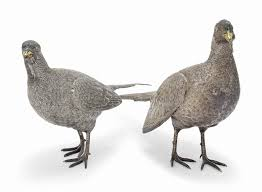 a pair of large modern silver pheasant table ornaments of william d5966490g jpg