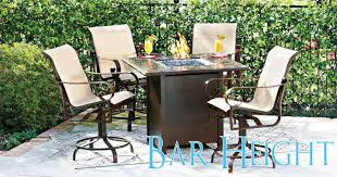 bar height fire pit table set ideas with decorating west in bed bath