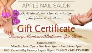 luxury manicure pedicure spa chair gift certificate apple nail