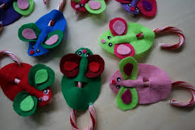 pink and green mama easy holiday kid craft felt candy cane mice