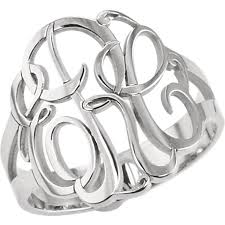 monogram ring silver 3 letter script monogram ring