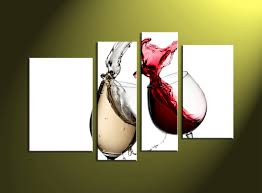 Wine Home Decor 4 Piece Fire Yellow Wine Glass Canvas Wall Art
