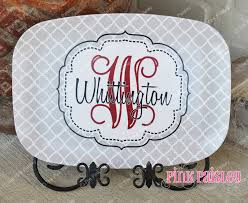 personalized platter personalized melamine platter monogrammed platter the pink paisley