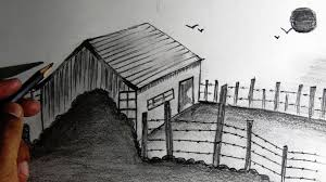 drawn scenery drawing pencil and in color drawn scenery drawing