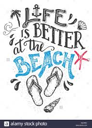 life is better at the beach hand lettering quote card with a