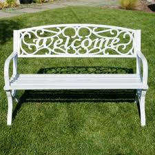 Outdoor Metal Furniture by White Outdoor Benches You U0027ll Love Wayfair