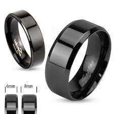 black steel rings images Flat beveled stainless steel ring in 4 colors wholesale 925express jpg