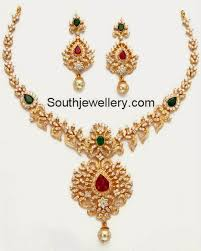 gold necklace with stones images Gold stone necklace designs images jpg