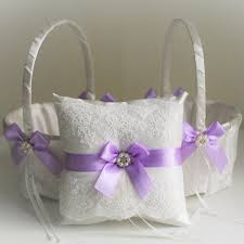 Wedding Ring Holder by Violet Wedding Bearer Pillow Violet Flower Basket Wedding