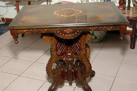 inlaid lignum vitae table