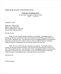 best ideas of thank you letter for interview sample in a law firm
