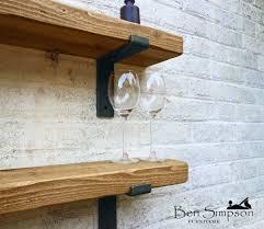 rustic chunky industrial shelf shelves metal brackets solid wood
