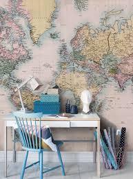 World Map Wall Decor Vintage Home Office Decor Positive Office Decor Office