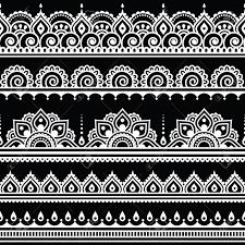 mehndi indian henna tattoo seamless white pattern on black