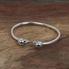 skull bangle bracelet images Sterling silver skull heads bangle bracelet matte moss jpg
