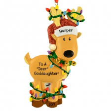 goddaughter christmas ornaments moose and reindeer christmas ornaments personalized ornaments