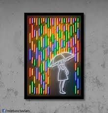Neon Signs For Home Decor Rain Wall Art Neon Art Gift For Her Rain Art Rainbow Art
