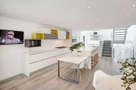 Open Plan Kitchen Floor Plan by Open Plan Minimalist Kitchen Decor With Lightweight Wood Flooring