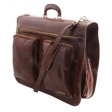 porta abito tuscany leather porta abiti in pelle da viaggio due tasche made in