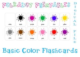 printable basic color paint splash flashcards set of 12