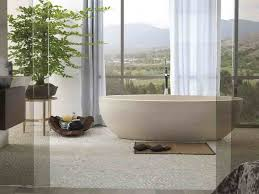 big window used white curtain color and cool bathtub beside low