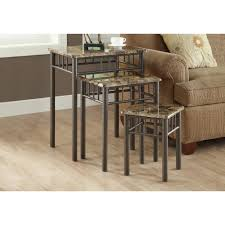 monarch specialties accent table monarch specialties cappuccino marble 3 piece nesting end table i