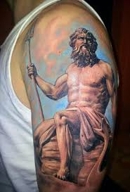 antic like painted colored poseidon god tattoo on upper arm