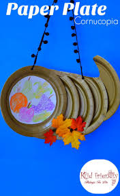 paper plate cornucopia craft for a kid s thanksgiving craft
