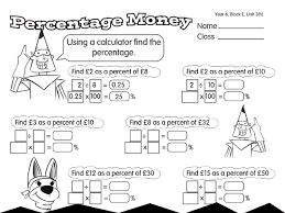 money percentages a year 6 percentage worksheet