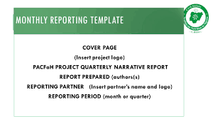 quarterly report template documenting and reporting by okoronkwo sunday session objectives 6 monthly reporting template cover page insert project logo pacfah project quarterly narrative report report prepared authors s reporting partner insert