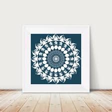 mandala art hand drawn design navy blue home decor neutral