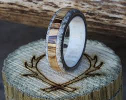 Stag Head Designs Mens Wedding Band Ironwood With Amber Inlay Ring Staghead